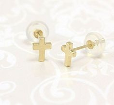 14kt Gold Small Cross Earrings. Perfect size for babies and toddlers.
