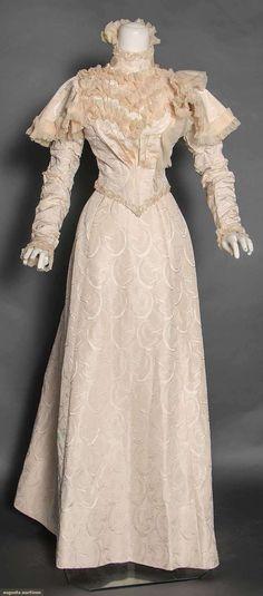 Silk Brocade Wedding Dress, C. 1898