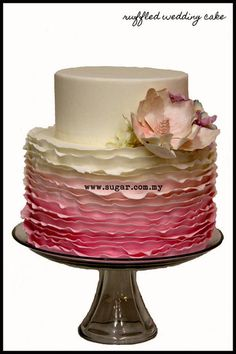 2 tiered Ombre Ruffled Cake