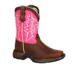 Lil' Durango Infant Girls Pink Leather Let Love Fly Western Cowboy Boots