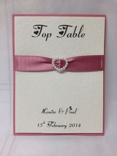 Personalised Simple Pearl Heart Slider Wedding Table Name/Numbers. £1.50 from www.facebook.com/TotallyBridal