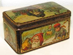 A Great Dutch Christmas biscuit tin with fantastic Lithoing all around, its in my Collection and for Sale