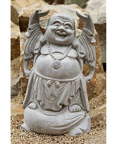 Joyful Happy Buddha Garden Statue made of all-weather ResinStone. Available at BuddhaGroove.com.