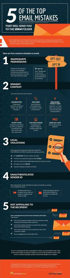 [INFOGRAPHIC] 5 Top Email Mistakes: Permissions; Spammy; Legal violations; Unauthenticated; Relevance; Details.