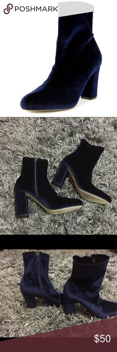 NWOT Madden Girl Navy Velvet Boot PRODUCT DETAILS: (never worn- brand new) * Faux-suede upper in a bootie style with an almond toe * Side zipper entry * Smooth lining with comfort footbed * Durable traction outsole * 3 inch covered heel Madden Girl Shoes Ankle Boots & Booties