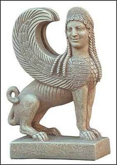 Ancient Greek Sphinx Statue Sculpture Metropolitan Museum New York Item No. 5010 Reproduced after the original from the Metropolitan Museum of Art, New York. This sphinx was a part of a Attic grave monument of the middle archaic period