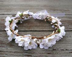 White Floral Head Garland Flower Girl Headband Rustic Headband/Country Wedding/Shabby Chic Headbandl/BOHO Head Garland-Floral Headpiece