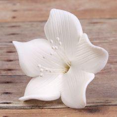 Small White Gumpaste Flower Blossoms handmade cake decoration. | CaljavaOnline.com
