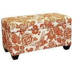 Storage Bench in Tangerine Fabric.