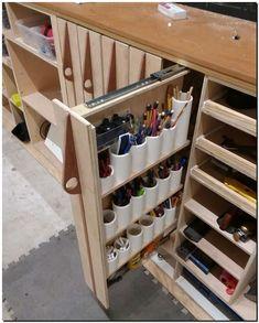 40 Inspiring DIY Garage Storage Design Ideas on a Budget – Garage Organization DIY Garage Workshop Organization, Garage Tool Storage, Workshop Storage, Garage Tools, Garage Shop, Organization Ideas, Workbench Organization, Workshop Ideas, Diy Garage Work Bench
