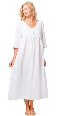 855a65a935d La Cera Boutique Embroidered Long Cotton Nightgowns in White Sunflower at  Amazon Women's Clothing store:
