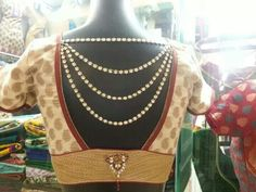Ivory, gold and red saree blouse