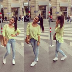 <3 love the white shoes w jeans & love the color of her shirt!