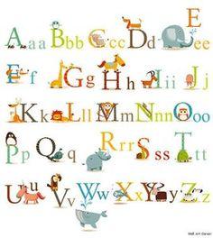 Educational Animals Alphabet Kids Wall Sticker Decals | eBay