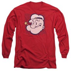 Popeye/Head Long Sleeve Adult T-Shirt 18/1 in Charcoal
