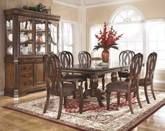 This beautiful formal or semi formal dining set can be purchased with matching China Cabinet.  This particular offering is absolutely spectacular and will have your guests excited to come to dinner!