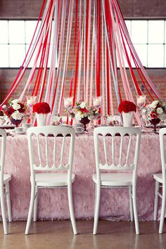 A bit of wedding whimsy with playful red ribbons. Photo by Sarah Kate, Photographer. Home Wedding, Dream Wedding, Wedding Ideas, Wedding Stuff, Wedding Decorations, Table Decorations, Wedding Backdrops, Girly Games, Table Manners