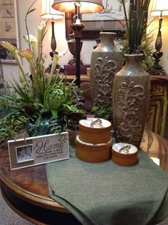 Decorating and floral arrangement ideas for Spring. Brown and gold tones at Something Special
