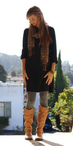 casual black dress, grey cable knit tights, cognac boots, leopard scarf