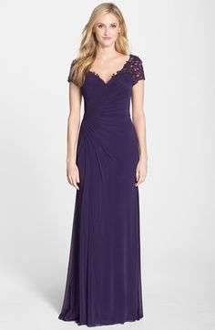 $450. Trufit says I need a 10. La+Femme+Fashions+Embellished+Jersey+A-Line+Gown+available+at+#Nordstrom