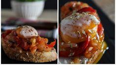 Pão com tomatada e ovo escalfado