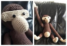 Stor Hæklet Abe Crochet Animals, Pin Cushions, Merino Wool Blanket, Monkey, Diy And Crafts, Teddy Bear, Stitch, Knitting, Sewing