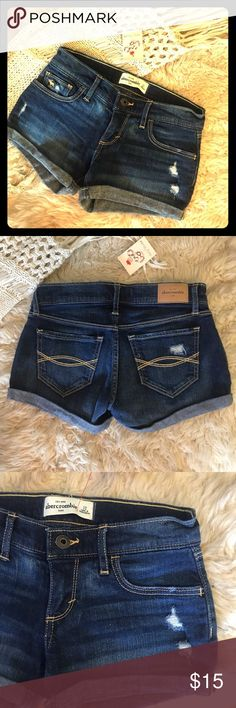 NWOT! abercrombie kids jean shorts Dark blue, lightly distressed. Contrasting stitching on back pockets. Folded hem. A classic style from an American favorite! abercrombie kids Bottoms Shorts