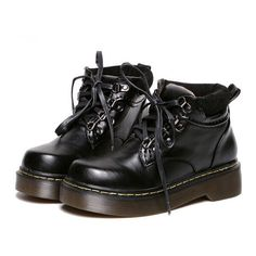 Black Vintage Thick-soled PU Martin Boots (890 ARS) ❤ liked on Polyvore featuring shoes, boots, ankle booties, vintage booties, black zip boots, zip boots, round booties and zipper boots