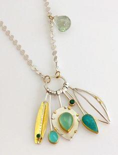 Caribbean colors: cluster necklace with emeralds, Peruvian opal, amazonite, green quartz drop.