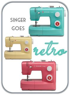 Aqua, pink and butter yellow retro sewing machines for under $100 by Singer sewing machines. These are cute! Travel sewing machine? retreat/sew-ins?
