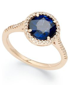 Velvet Bleu by EFFY Manufactured Diffused Sapphire (2-1/3 ct. t.w.) and Diamond (1/5 ct. t.w.) Ring in 14k Rose Gold