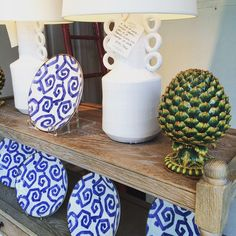 """""""New @ 22: A pair of #handmade #ceramic artichokes. Perfect for a coffee table or mantel near you. #dishes #franceselkins #interiordesign #decoration #inspiration #classic #newport #newportri #rhodeisland #blueandwhite"""" Photo taken by @newportlampandshadecompany on Instagram, pinned via the InstaPin iOS App! http://www.instapinapp.com (05/19/2015)"""