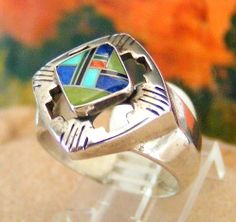 Four Directions Multi Stone Inlay Sterling Silver Ring