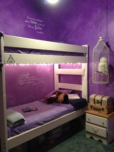 Harry Potter Bedroom-I love Harry Potter, plus those purple walls are to die for!
