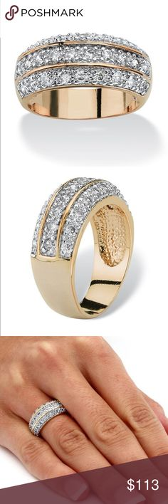 HOST PICKPRECIOUS RING NEW PRECIOUS RING! IT'S A SENTIMENTAL CLASSIC!! 3 ROWS OF DIAMOND ACCENTS  SET IN 18K YELLOW GOLD OVER BRASS! LIGHT WEIGHT AND STUNNING!! includes black velvet gift box PRECIOUS FINE JEWELS Jewelry Rings