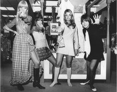 1960s:Mary Quant (right) with three of her designs in 1968.This period mini skirts became popularly.