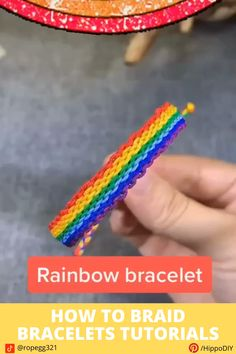This tutorial shows you how to braid a rope bracelet in a very easy way. Visit the website to learn about the 8 remaining styles Diy Friendship Bracelets Tutorial, Friendship Bracelets Designs, Diy Bracelets Easy, Bracelet Crafts, Macrame Bracelets, Friendship Bracelet Knots, Diy Bracelets With String, Handmade Friendship Bracelets, Pride Bracelet