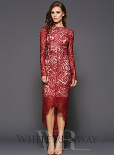 Pre-Order Alicia Dress by Elle Zeitoune. Pre-order now for May delivery. Long sleeve, maroon lace evening dress by Elle Zeitoune. A high necklined style, featuring long sleeves and a scalloped trim.