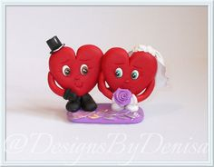 Handmade Hearts Cake Topper Figurines Bride and by DesignsByDenisa