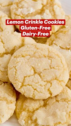 Gluten And Dairy Free Desserts Easy, Easy Gluten Free Cookies, Healthy Gluten Free Snacks, Dairy Free Gluten Free Desserts, Gluten Free Baking Recipes, Dairy Free Sugar Cookies, Dairy Free Deserts, Gluten Free Party Food, Lemon Cookies Easy