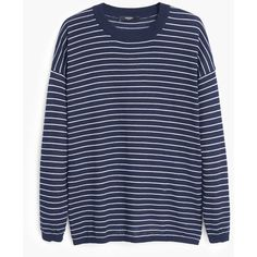 Striped Sweater (€20) via Polyvore featuring tops, sweaters, stripe 3/4 sleeve top, 3/4 length sleeve tops, mango sweater, 3/4 sleeve tops e blue striped top