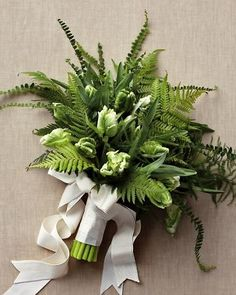 Fern Wedding Bouquet with green and white parrot tulips/ centralfloridaweddingflowers/ www.callaraesfloralevents.com