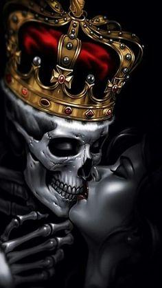 King skull and girl