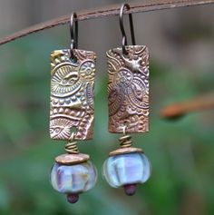 Copper Tribal Paisley rectangle and Lampwork Earrings
