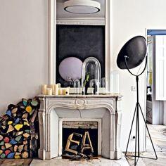 spotlight + balloon initials in fireplace
