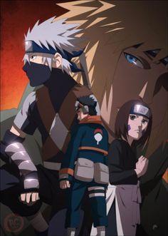 Kakashi, Obito, Rin, and the 4th hokage Minato Namikaze