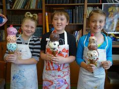 My three sweet DragonWing Arts students, two 4th graders and a 3rd grader, have just completed their totally awesome papier-mache ice crea...