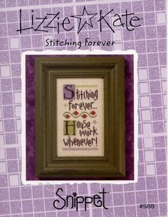 Lizzie Kate: Stitching Forever - a Snippet Cross Stitch Pattern