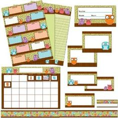 With everything you need for an organizational theme, this Owls Classroom Collection includes: 4 charts x 24 each): Birthday, All-purpose, Incentive, and Calendar A door label 10 cards 12 border strips 32 desk nameplates 35 calendar cover-ups Owl Theme Classroom, First Grade Classroom, Classroom Setting, Classroom Setup, Future Classroom, School Classroom, Classroom Organization, School Teacher, Teacher Supplies