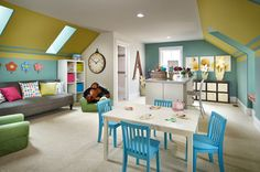 Love the idea of having a couch in the playroom, hopefully a pull out bed couch, so it can double as a guest room.